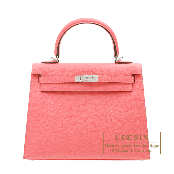 Hermes Kelly bag 25 Sellier Rose azalee Epsom leather Silver hardware