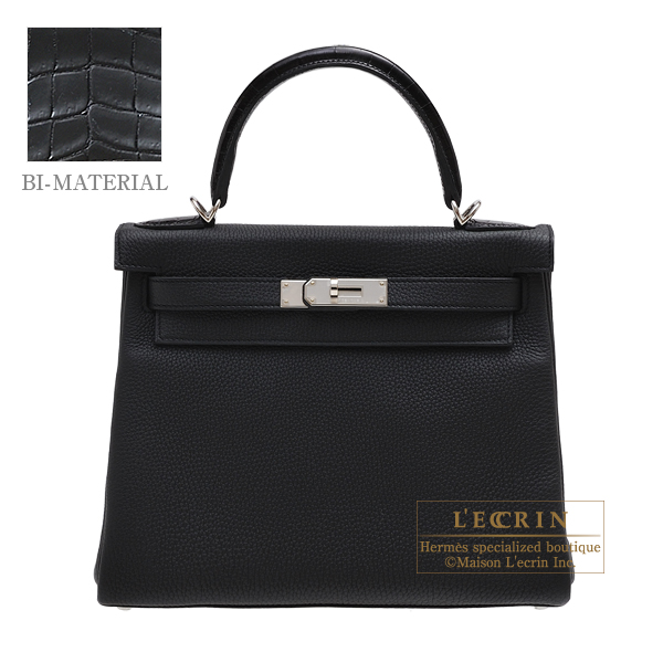 Hermes Kelly Touch bag 28 Retourne Black Togo leather/ Porosus crocodile skin Silver hardware