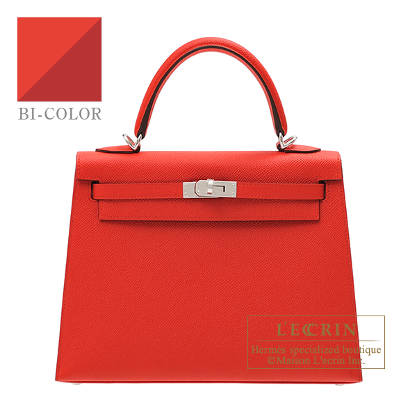 Hermes Kelly Verso bag 25 Sellier Rouge coeur/ Rouge grenat Epsom leather Silver hardware