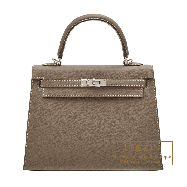 Hermes Personal Kelly bag 25 Sellier Etoupe grey Epsom leather Silver hardware
