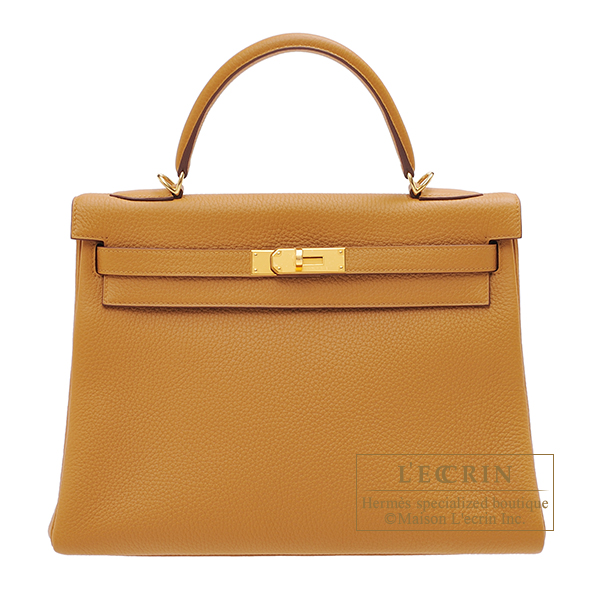Hermes Kelly bag 32 Retourne Sesame Clemence leather Gold hardware
