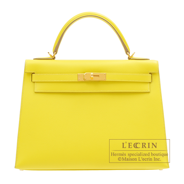Hermes Kelly bag 32 Sellier Lime Epsom leather Gold hardware