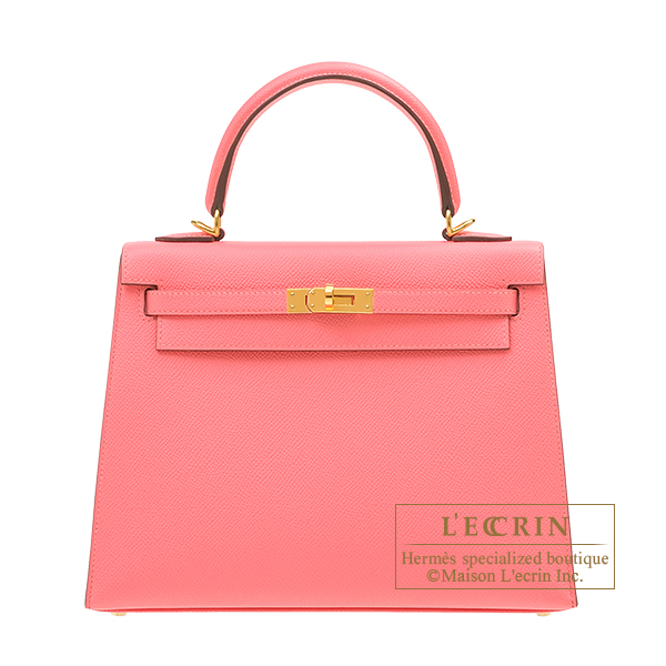 Hermes Kelly bag 25 Sellier Rose azalee Epsom leather Gold hardware