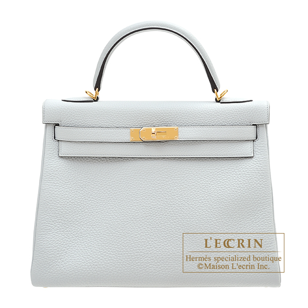 Hermes Kelly bag 32 Retourne Blue pale Clemence leather Gold hardware