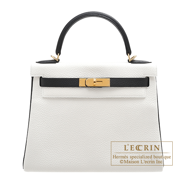Hermes Personal Kelly bag 28 Retourne White/Black Clemence leather Gold hardware