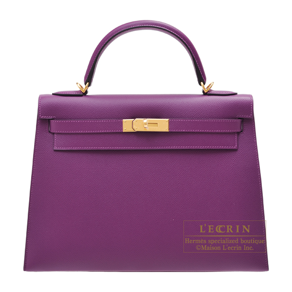 Hermes Kelly bag 32 Sellier Anemone Epsom leather Gold hardware