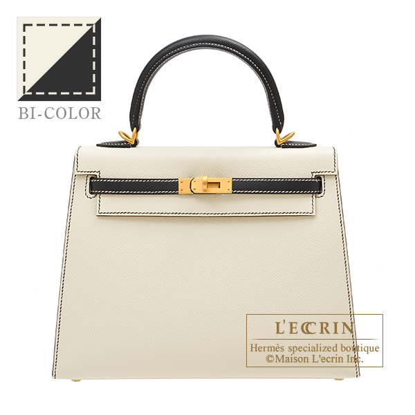 Hermes Personal Kelly bag 25 Sellier Craie/Black Epsom leather Matt gold hardware
