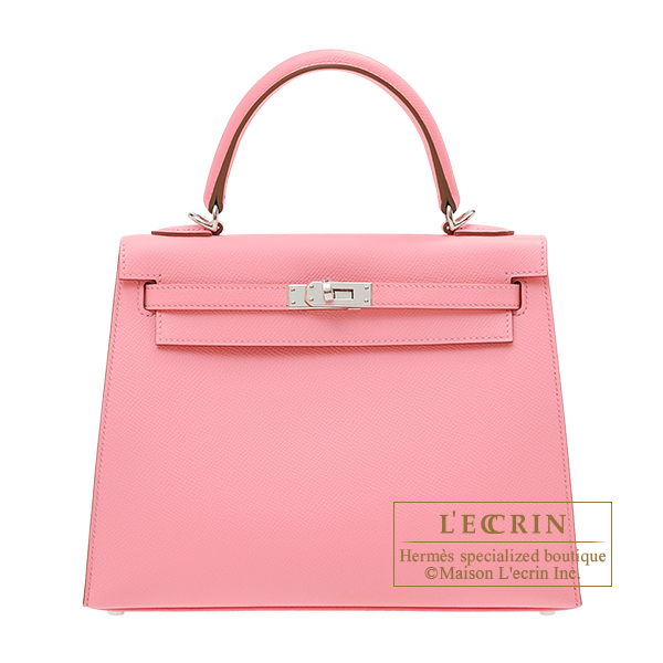 Hermes Kelly bag 25 Sellier Rose confetti Epsom leather Silver hardware
