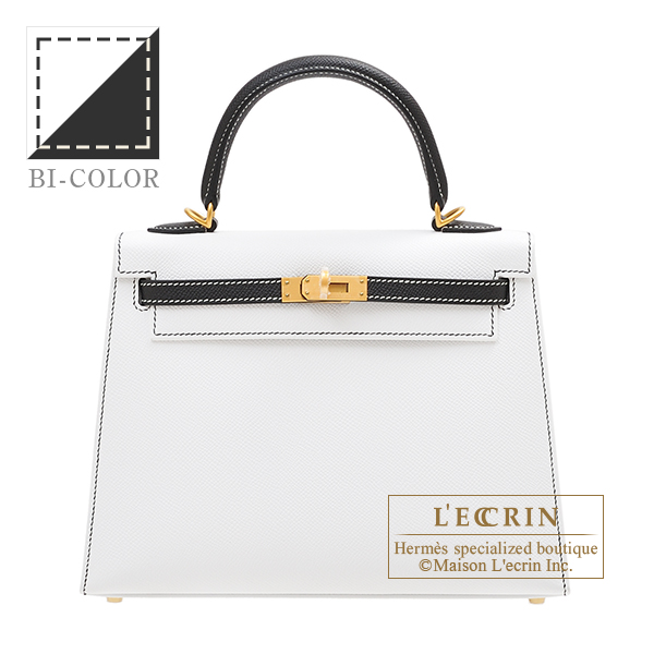 Hermes Personal Kelly bag 25 Sellier White/Black Epsom leather Matt gold hardware