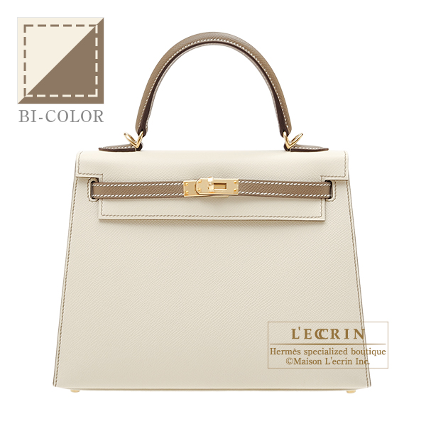 Hermes Personal Kelly bag 25 Sellier Craie/ Etoupe grey Epsom leather Champagne gold hardware