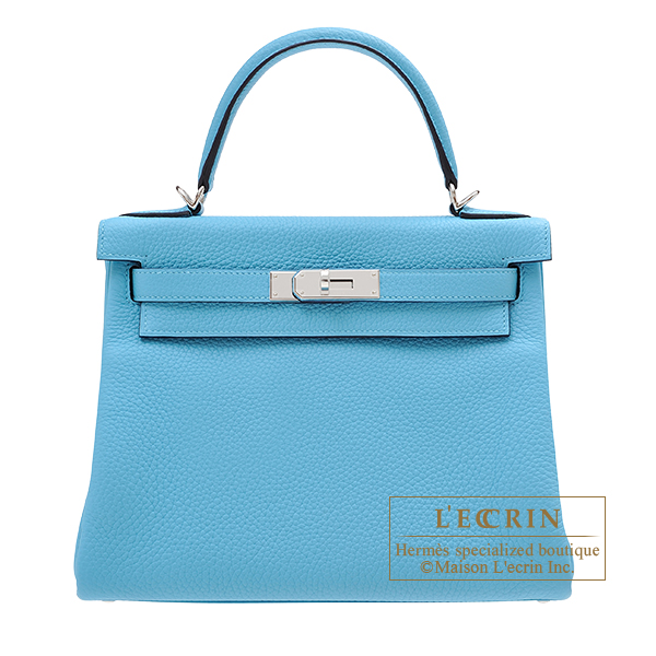 Hermes Kelly bag 28 Retourne Blue du nord Clemence leather Silver hardware