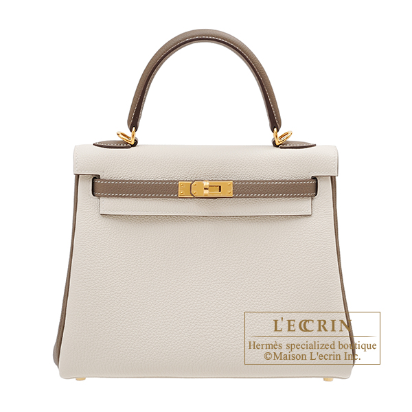 Hermes Personal Kelly bag 25 Retourne Craie/ Etoupe grey Togo leather Gold hardware