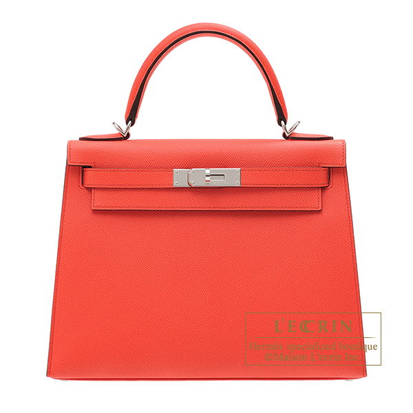 Hermes Kelly bag 28 Sellier Rose texas Epsom leather Silver hardware