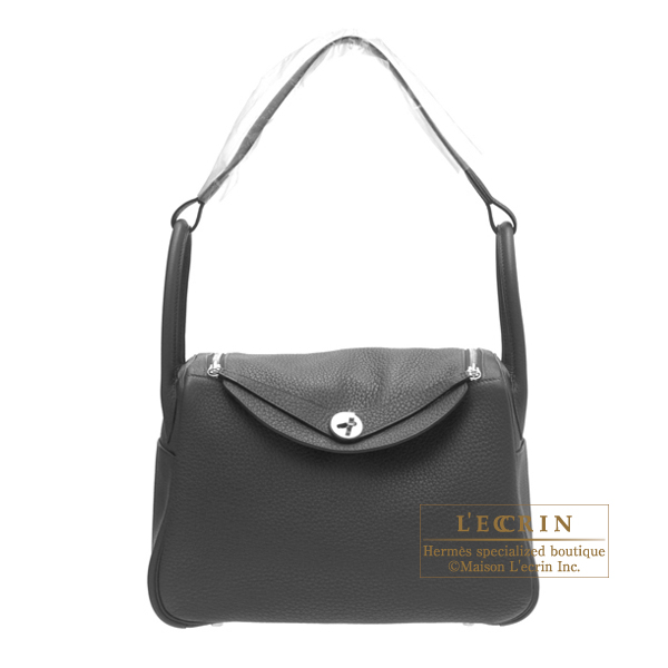 Hermes Lindy bag 30 Black Clemence leather Silver hardware