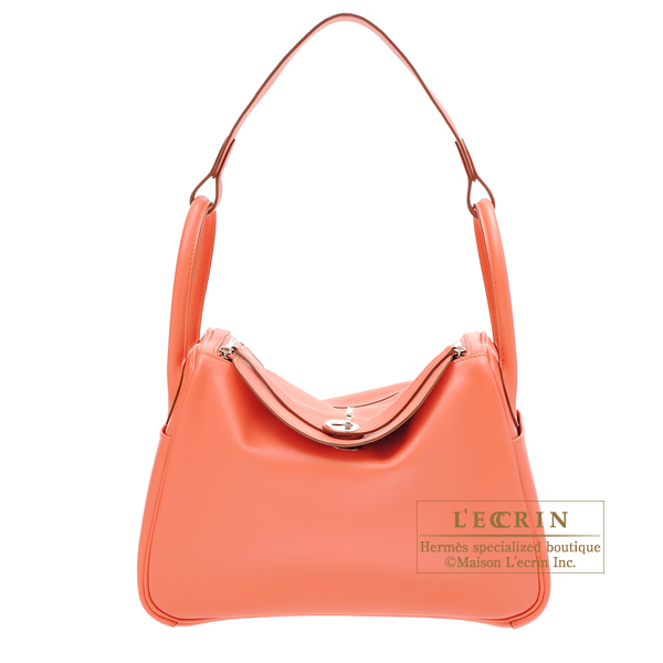 Hermes Lindy bag 30 Flamingo Evercolor leather Silver hardware