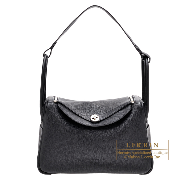 Hermes Lindy bag 34 Black Clemence leather Silver hardware