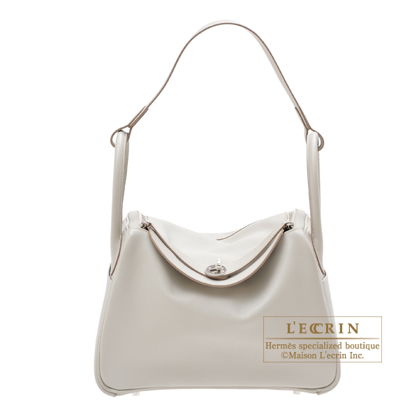 Hermes Lindy bag 30 Pearl grey Evercolor leather Silver hardware