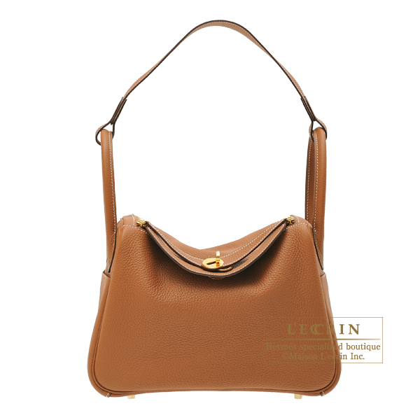 Hermes Lindy bag 30 Gold Clemence leather Gold hardware