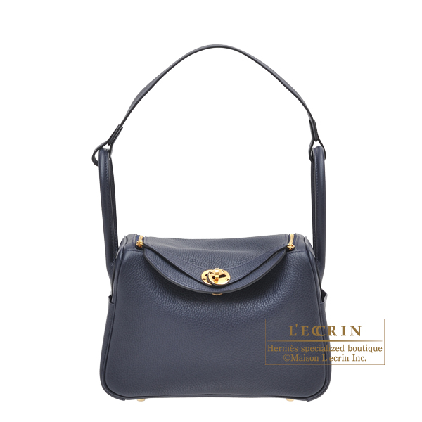 Hermes Lindy bag 26 Blue nuit Clemence leather Gold hardware