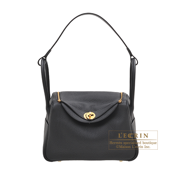 Hermes Lindy bag 26 Black Clemence leather Gold hardware