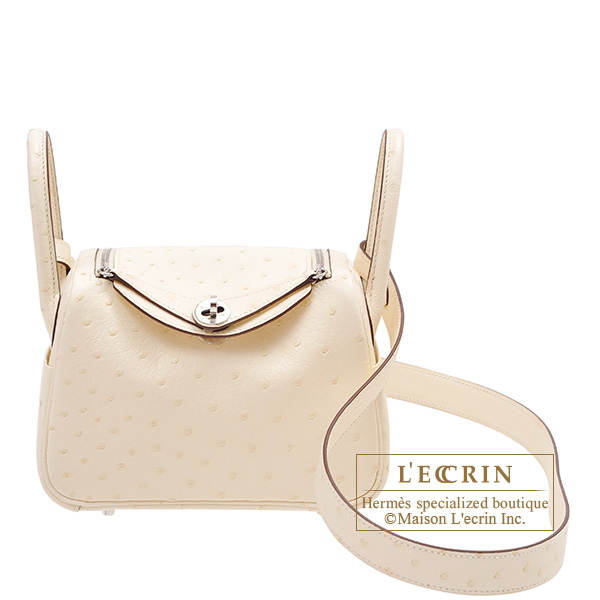 Hermes Lindy bag mini Nata Ostrich leather Silver hardware