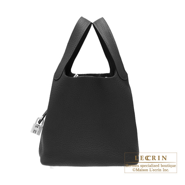 Hermes Picotin Lock bag PM Black Clemence leather Silver hardware