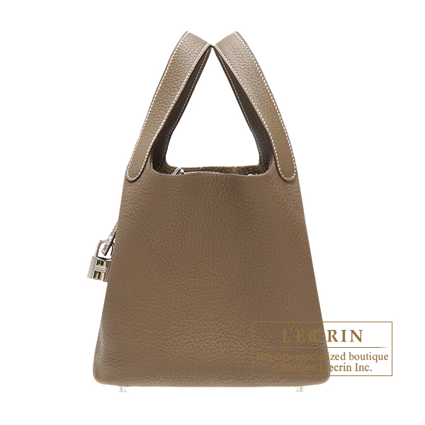 Hermes Picotin Lock bag PM Etoupe grey Clemence leather Silver hardware