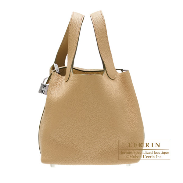 Hermes Picotin Lock bag MM Tabac camel Clemence leather Silver hardware