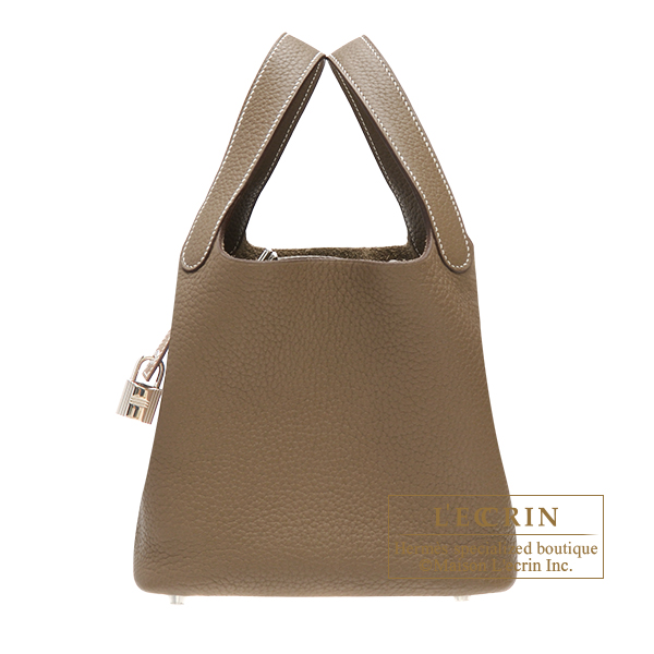Picotin Lock bag MM Etoupe grey Clemence leather Silver hardware