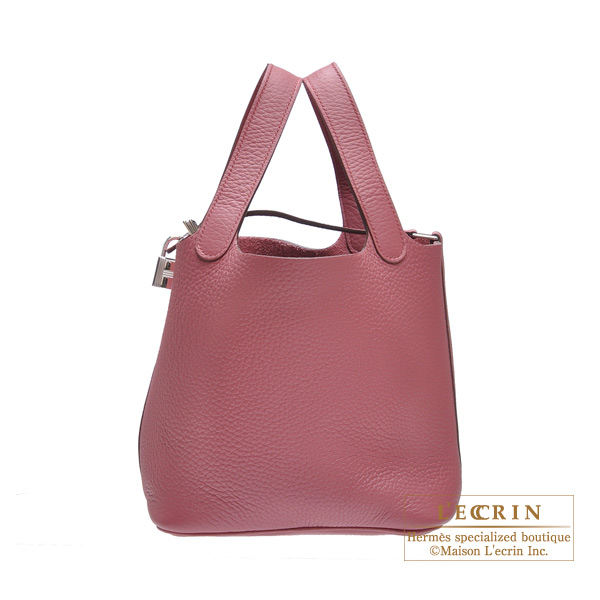 Hermes Picotin Lock bag PM Bois de rose Clemence leather Silver hardware
