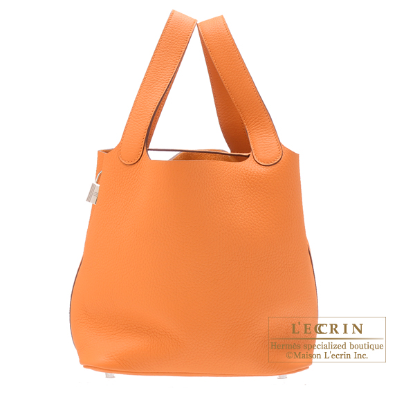 Hermes Picotin Lock bag MM Orange Clemence leather Silver hardware