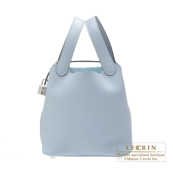 Hermes Picotin Lock bag PM Blue lin Clemence leather Silver hardware