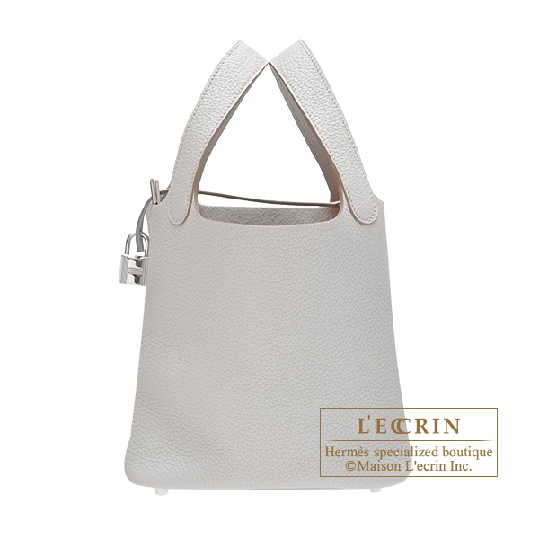 Hermes Picotin Lock bag PM Pearl grey Clemence leather Silver hardware