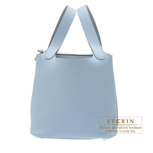 Hermes Picotin Lock bag MM Blue lin Clemence leather Silver hardware