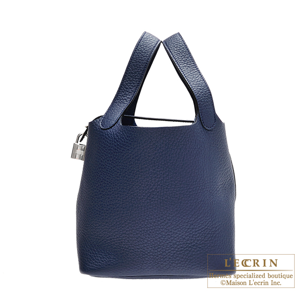 Hermes Picotin Lock bag PM Blue abysse Clemence leather Silver hardware
