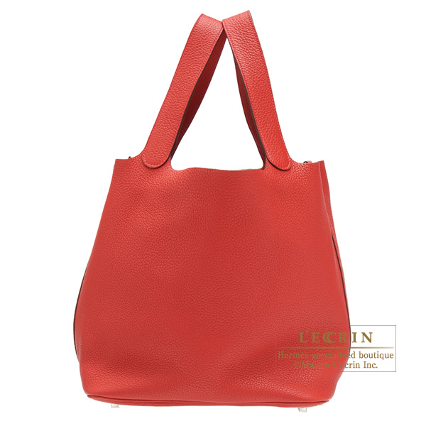 Hermes Picotin Lock bag GM Rouge casaque Clemence leather Silver hardware