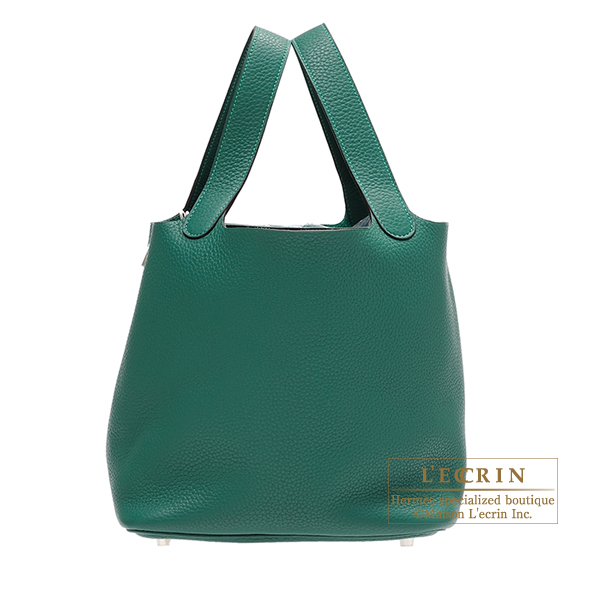 Hermes Picotin Lock bag MM Malachite Clemence leather Silver hardware
