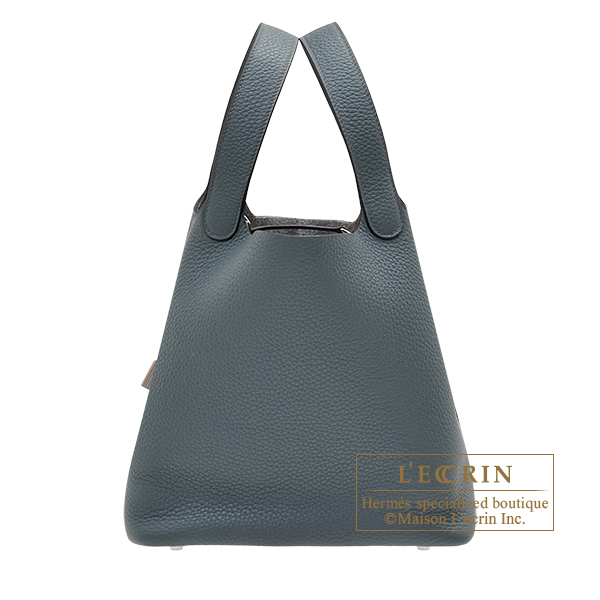 Hermes Picotin Lock bag MM Blue orage Clemence leather Silver hardware