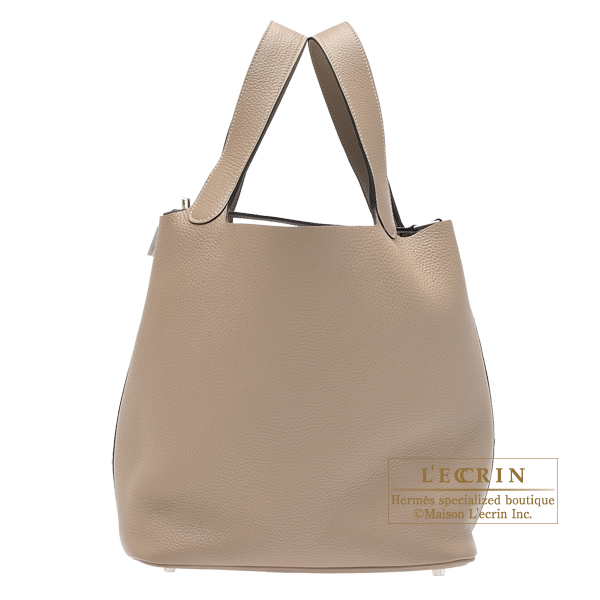 Hermes Picotin Lock bag GM Gris tourterelle Clemence leather Silver hardware