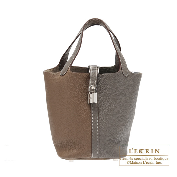 Hermes Picotin Lock casaque bag PM Bi-color Etoupe grey/Etain Clemence leather Silver hardware