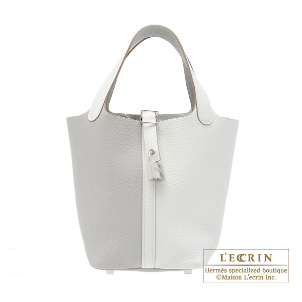 Hermes Picotin Lock casaque bag PM Bi-color White/Pearl grey Clemence leather Silver hardware