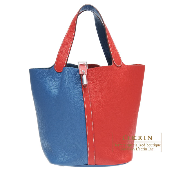 Hermes Picotin Lock Casaque bag GM Rouge casaque/ Blue thalassa Clemence leather Silver hardware