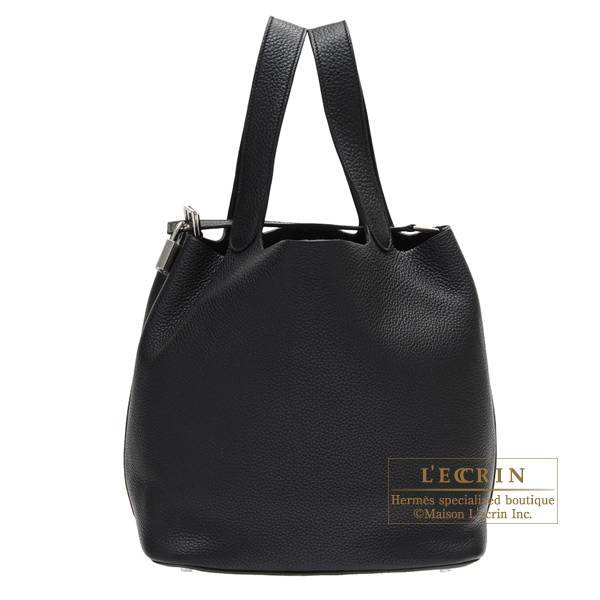 Hermes Picotin Lock bag GM Black Clemence leather Silver hardware