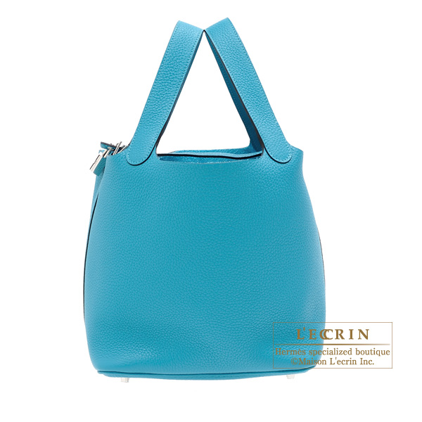 Hermes Picotin Lock bag MM Turquoise blue Clemence leather Silver hardware