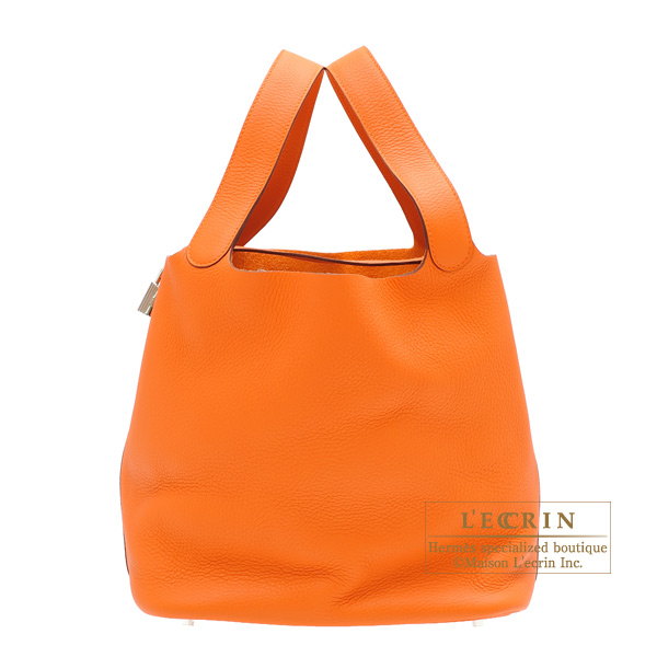 Hermes Picotin Lock bag GM Orange Clemence leather Silver hardware