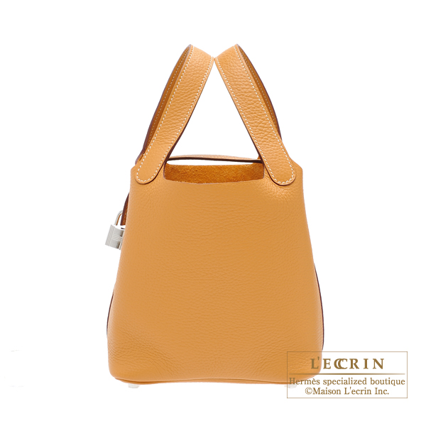 Hermes Picotin Lock bag PM Natural sable Clemence leather Silver hardware