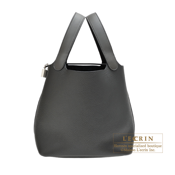 Hermes Picotin Lock Touch bag MM Graphite/Plomb Clemence leather/ Swift leather Silver hardware