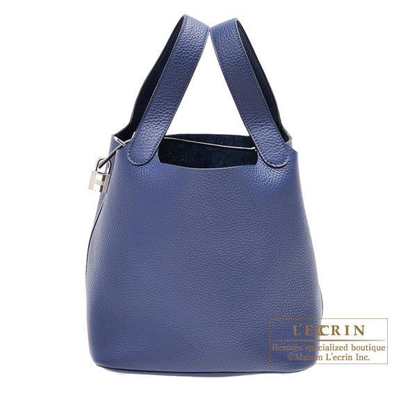 Hermes Picotin Lock bag MM Blue saphir Clemence leather Silver hardware