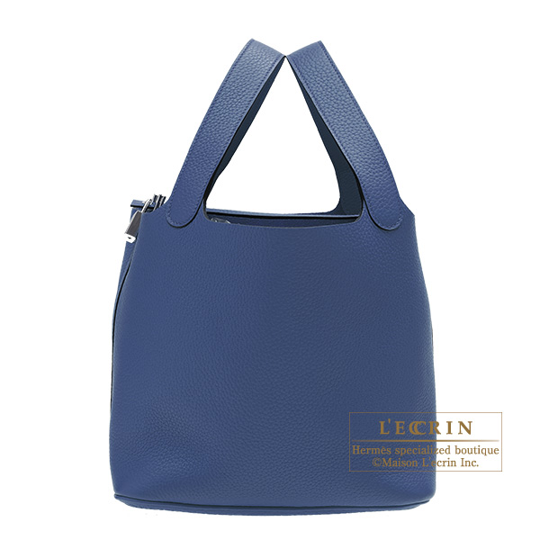 Hermes Picotin Lock bag GM Blue saphir Clemence leather Silver hardware