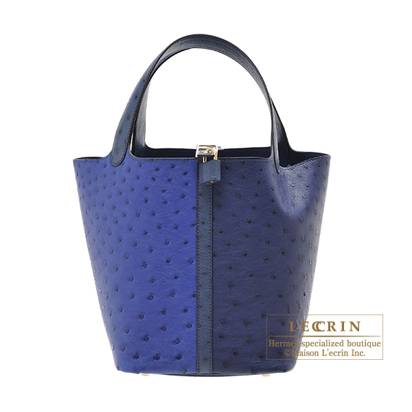 Hermes Picotin Lock bag MM Blue saphir/Blue iris Ostrich leather Champagne gold hardware